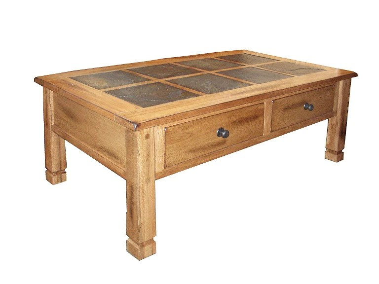 sd 3143ro2 c sedona rustic coffee table with slate inlay top