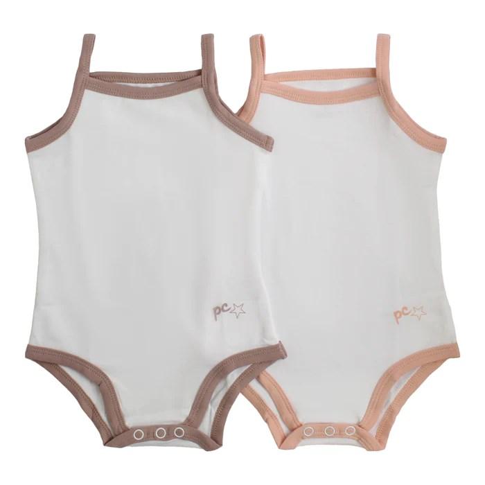 bodysuit undershirt petit clair girl 2 pak white with trim