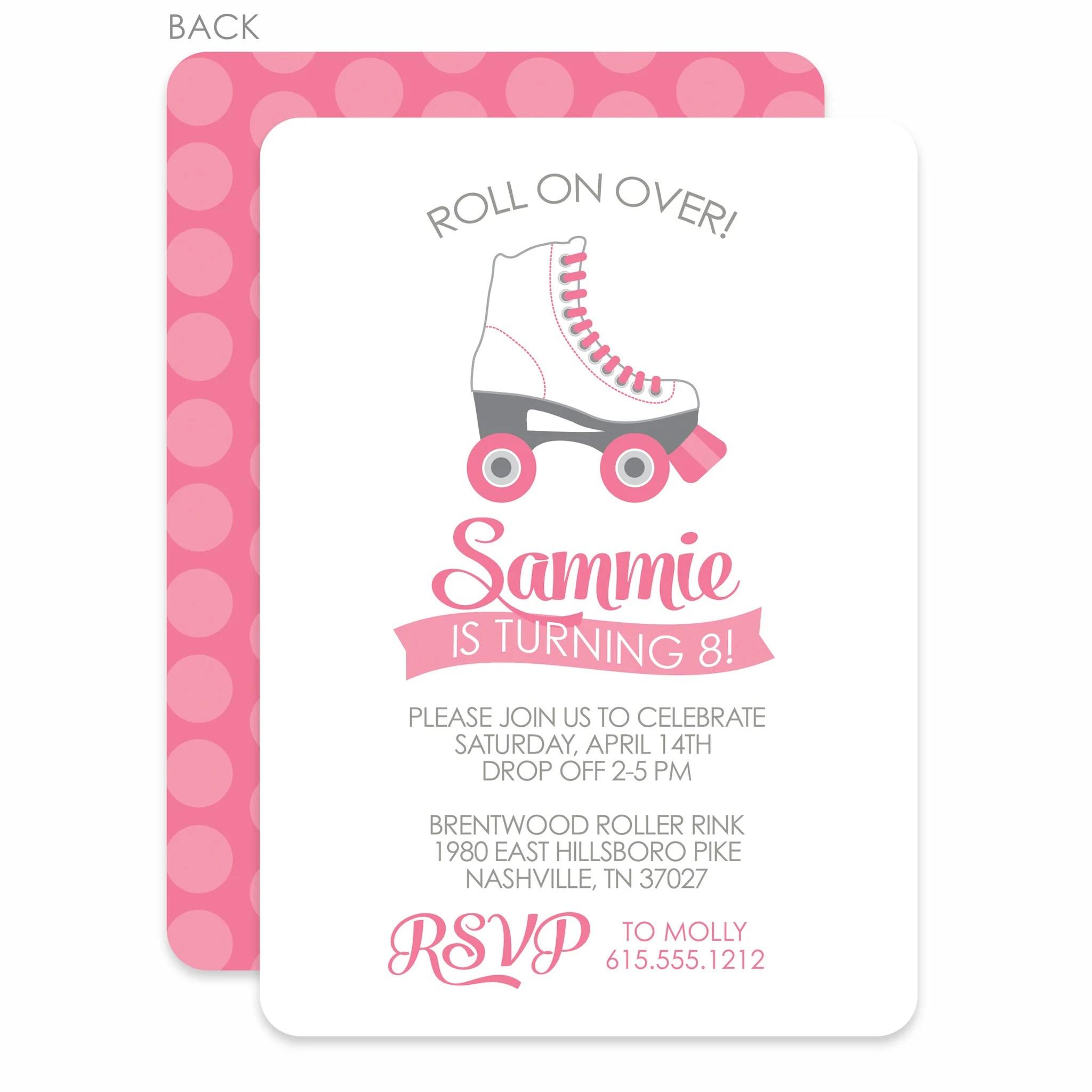 roller skating party birthday invitation pink printed