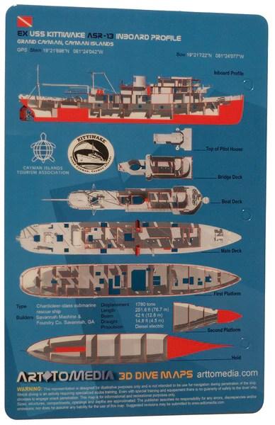 USS Kittiwake (Inboard Profile) Grand Cayman  Dive Map – Action Prone