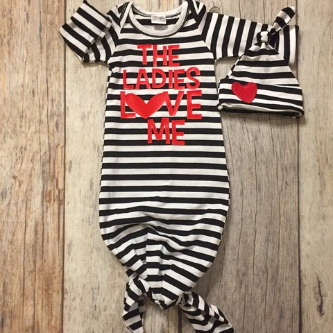 First Valentines Day Baby Boy Gown Knot Gown Black And
