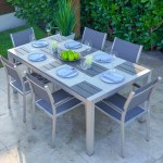 Belvadare 7 Piece Brushed Aluminum Outdoor Dining Table Set Shop4patio Com