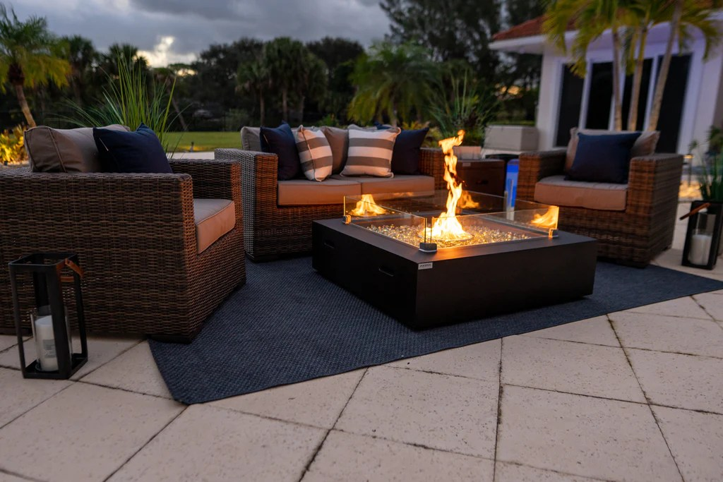 42 x 42 square outdoor propane gas fire pit table in brown
