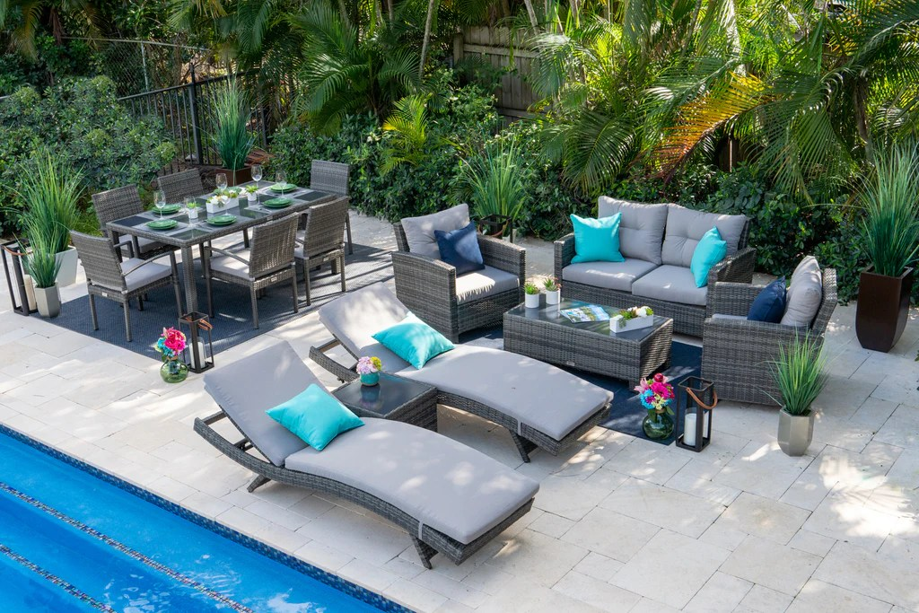 bari 14 piece combination outdoor furniture set in mixed gray
