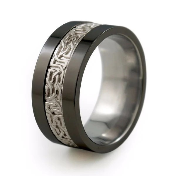 Camelot Sculpted Precious Inlay Mens Black Titanium