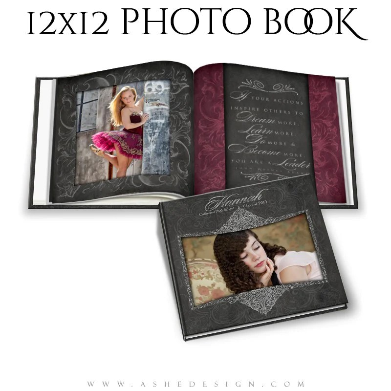 Photo Book Template 12x12 Chalkboard Senior Girl