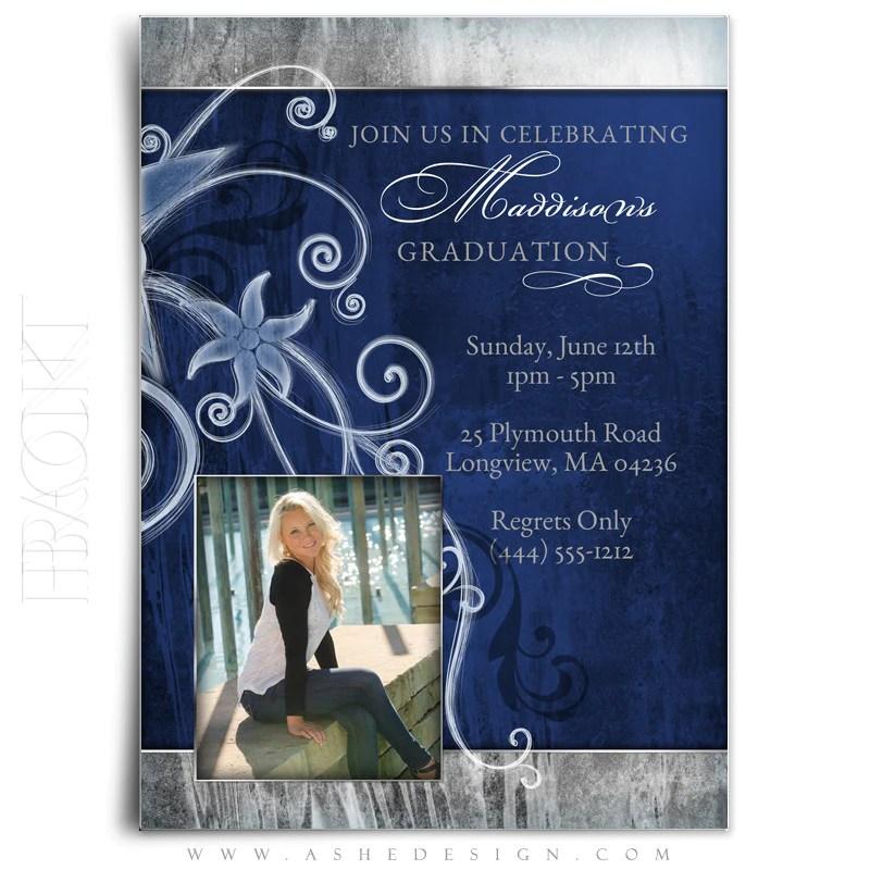 Girl Graduation Invitation Blue Steel AsheDesign
