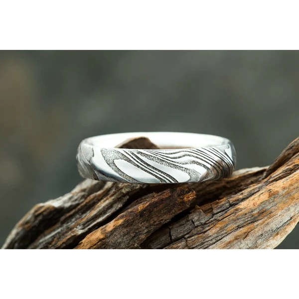 Wood Grain Damascus Steel Ring W Silver Interior Mens