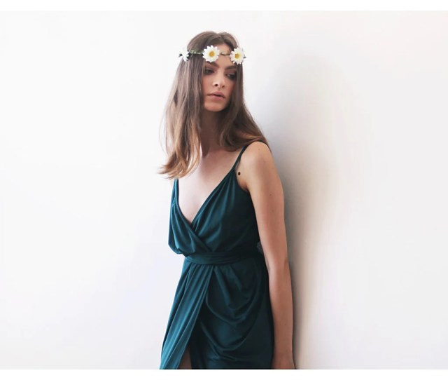 Wrap Maxi Emerald Green Tulip Dress Emerald Bridesmaids Gown Green Tulip Maxi Dress