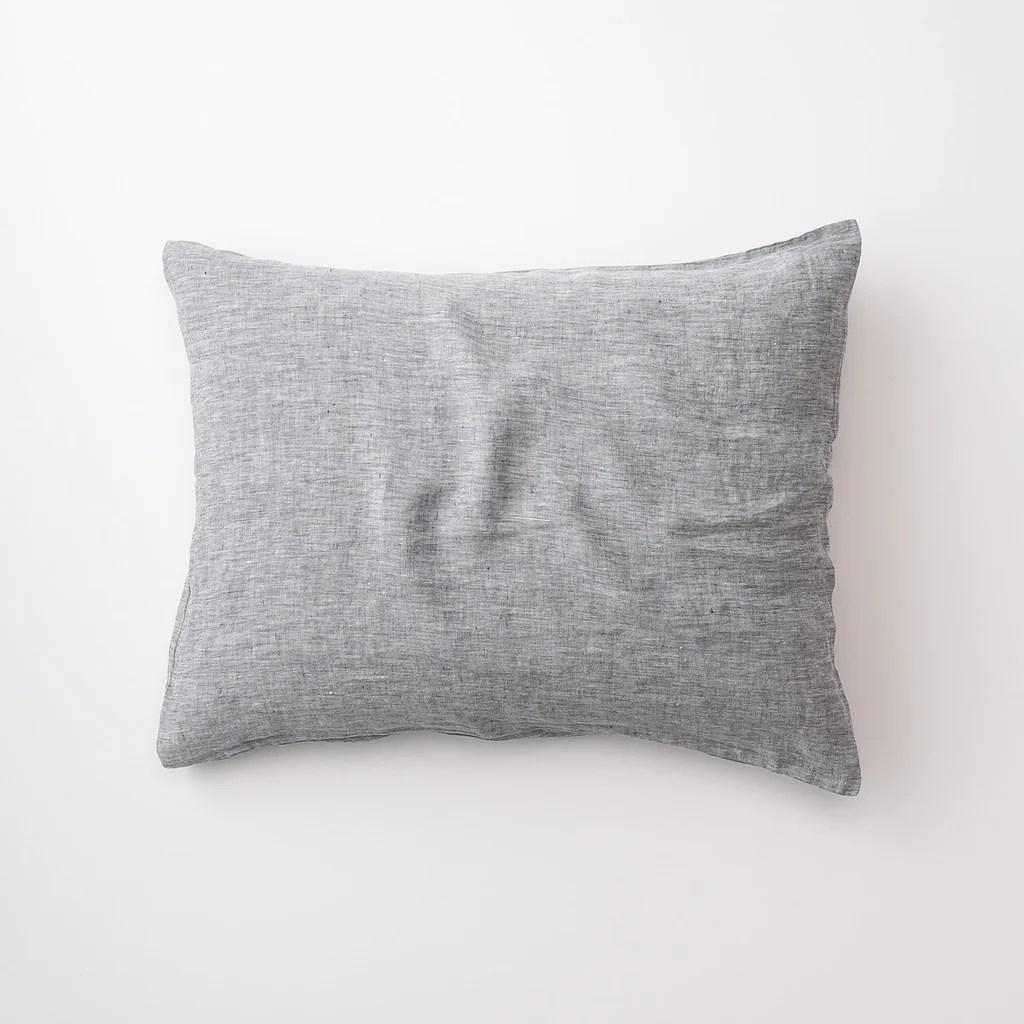 gray linen pillow sham