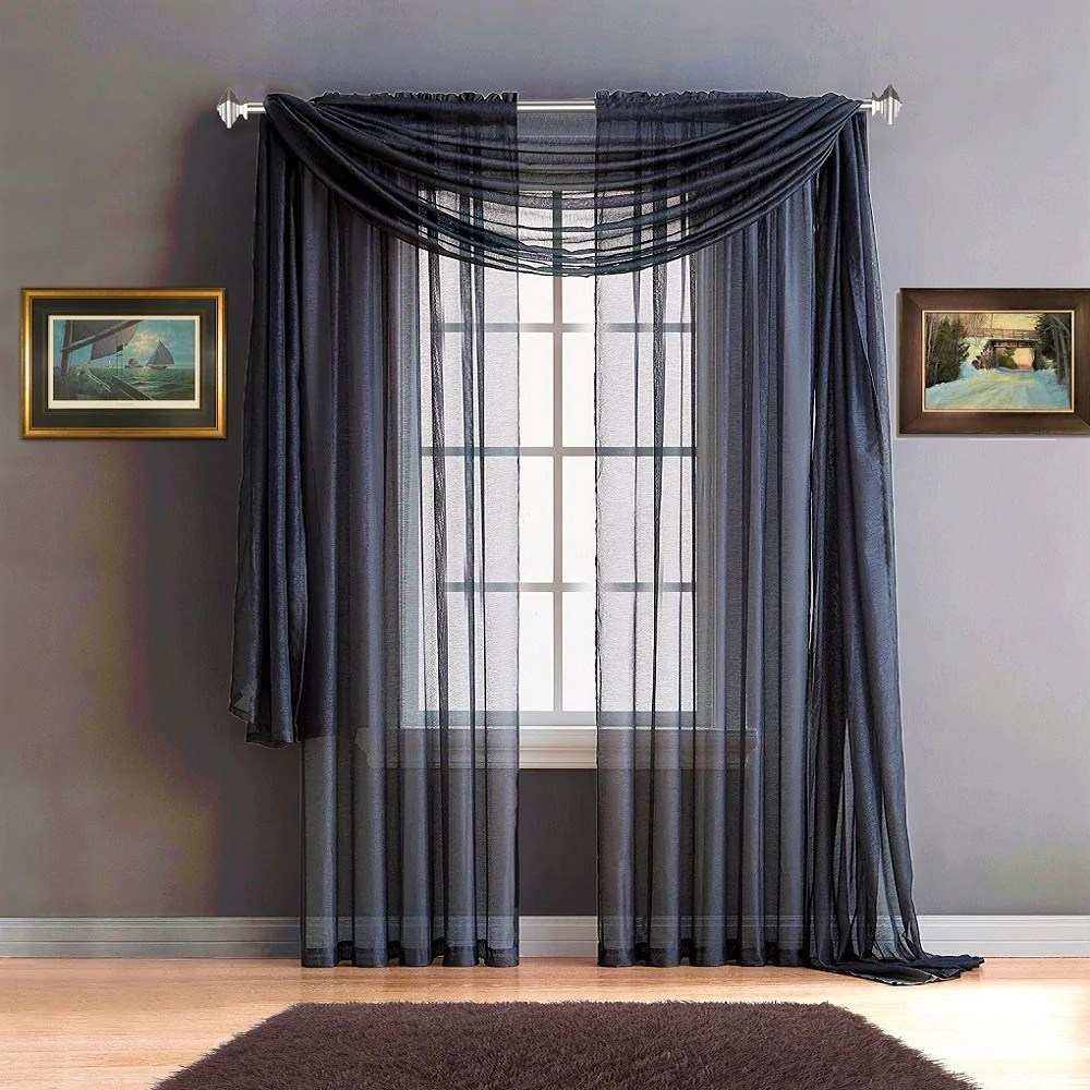 Warm Home Designs Navy Blue Window Scarves Amp Sheer Royal Navy Curtains