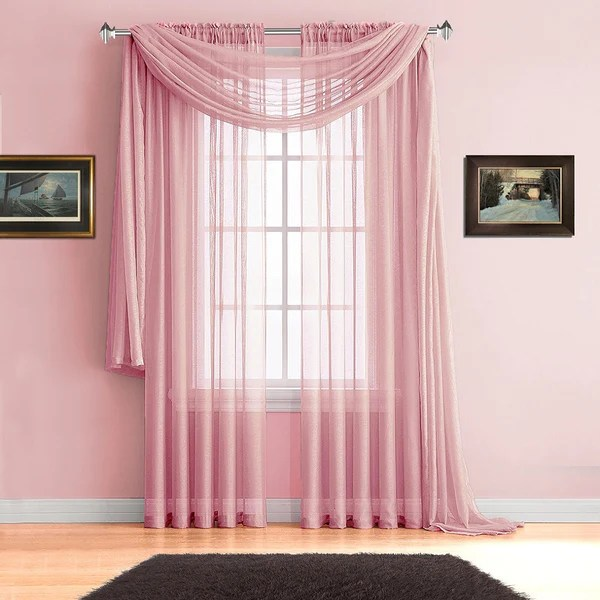 Warm Home Designs Rose Pink Window Scarves Sheer Light Pink Curtains