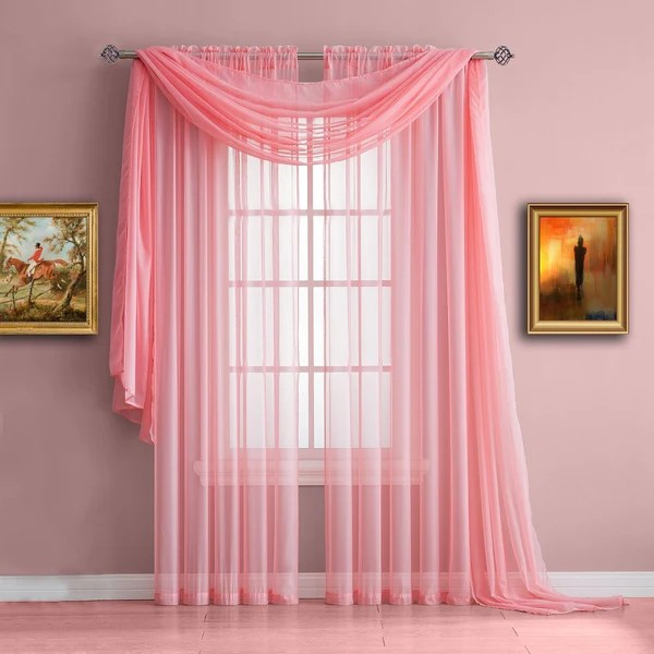 Warm Home Designs Rose Baby Pink Window Scarf Sheer Pink Curtains