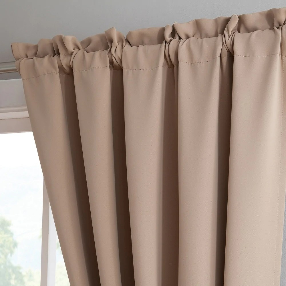 Warm Home Designs Pair Of Taupe Room Darkening Curtains Tie Backs