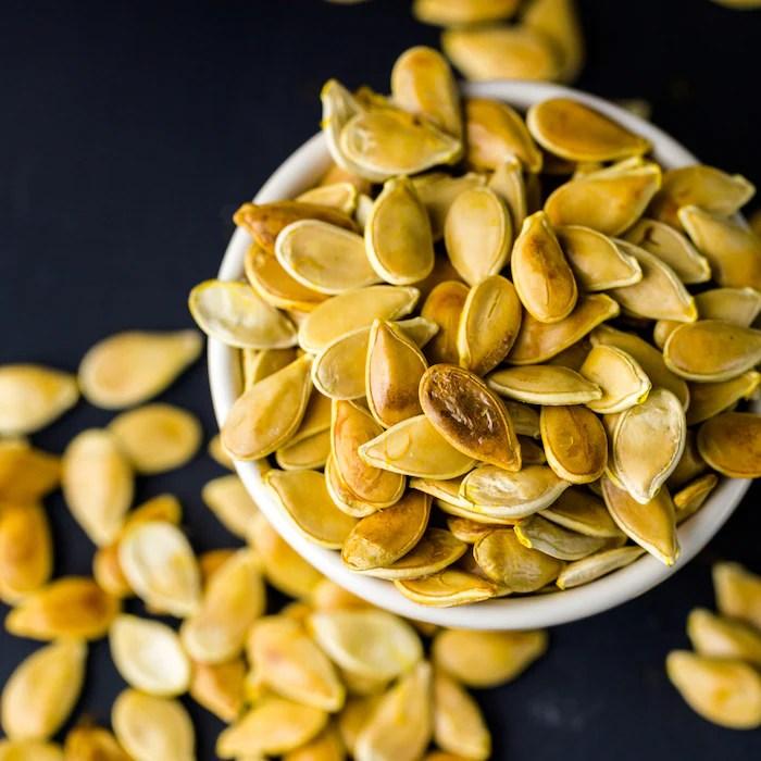 pumpkin seeds in dish