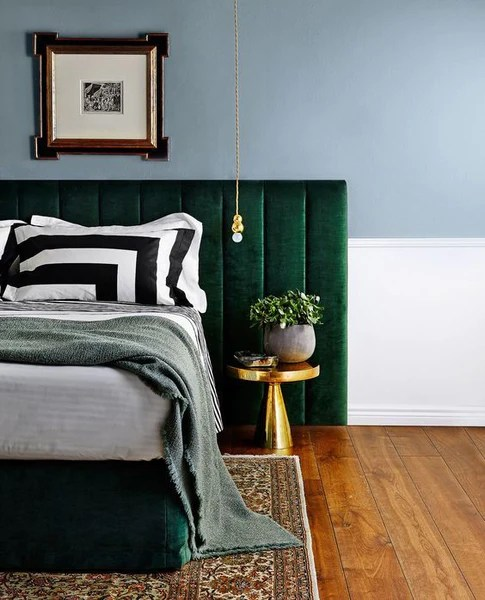 vintage accents and green headboard