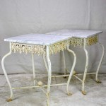 Pair Of White Cast Iron And Carrara Marble Side Tables