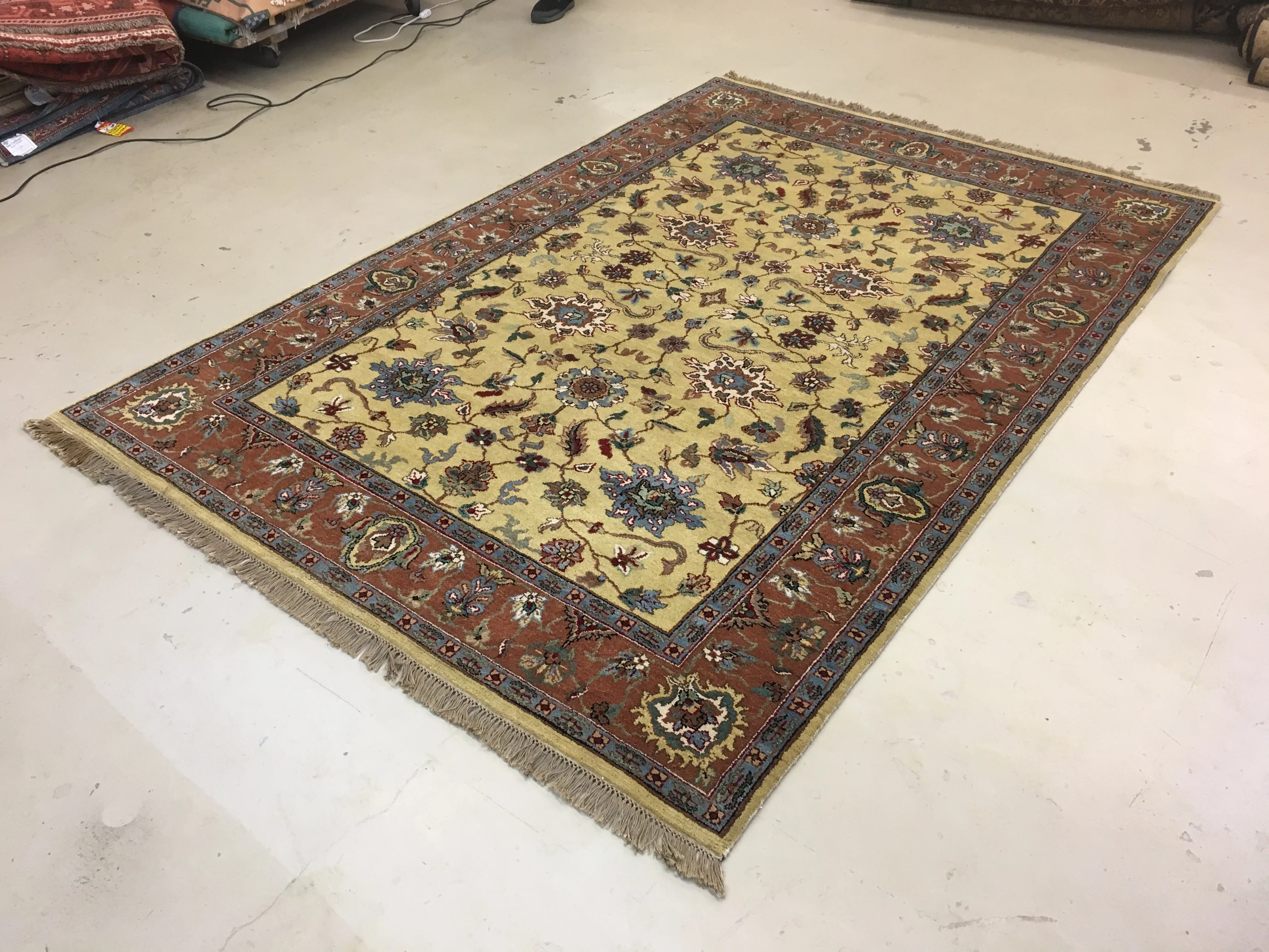 6 X9 Green Gold Indian Rug The Golden Looms Oriental Rugs