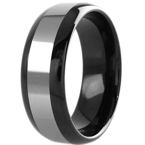 Black Tungsten Ring With Silver Band Inlay Wholesale