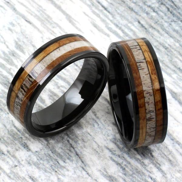 Black Flat Tungsten Band Ring W Whiskey Barrel Oak Wood Amp Deer Antler 925express