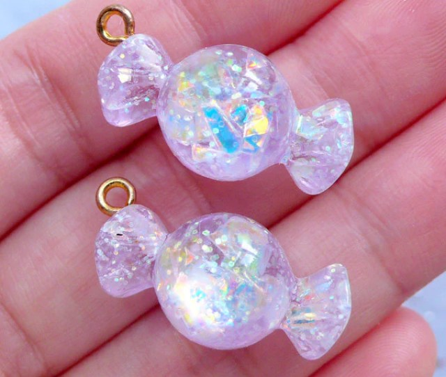 Fake Candy Charms With Iridescent Mica Flakes Glittery Candy Cabochons Decoden Supplies Kawaii