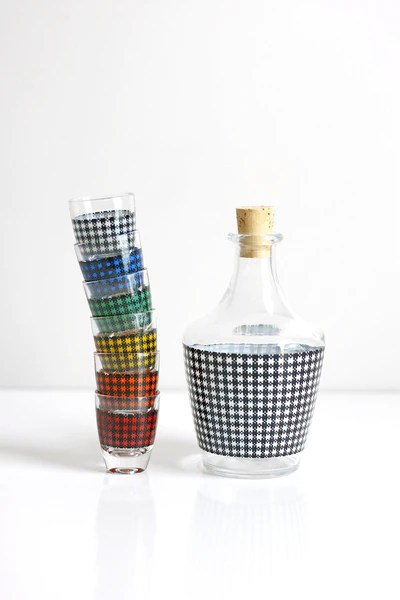 Sold Mid Century Modern Houndstooth Shot Glasses And