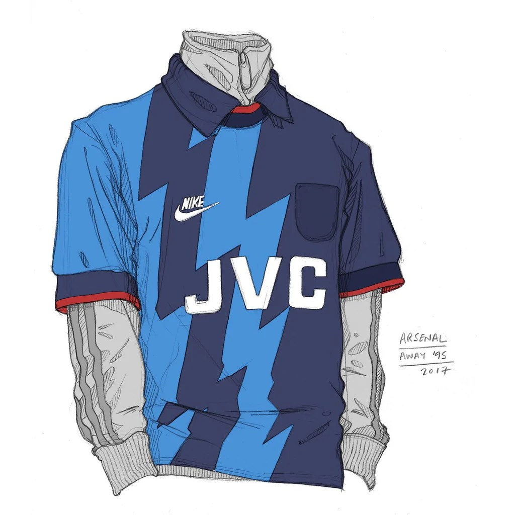 Arsenal blue away shirt sketch Angelo Trofa