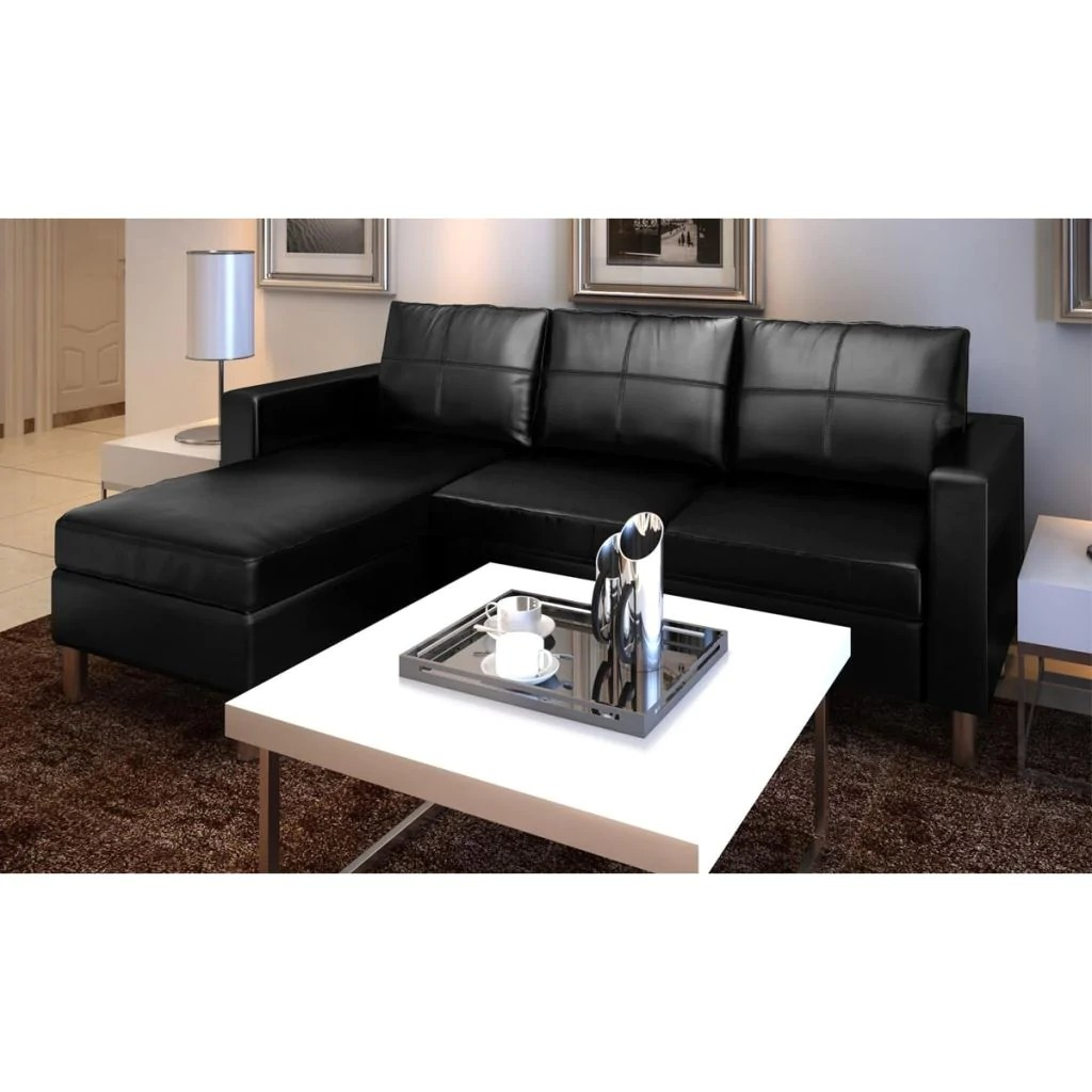 3 Seater L Shaped Artificial Leather Sectional Sofa Black