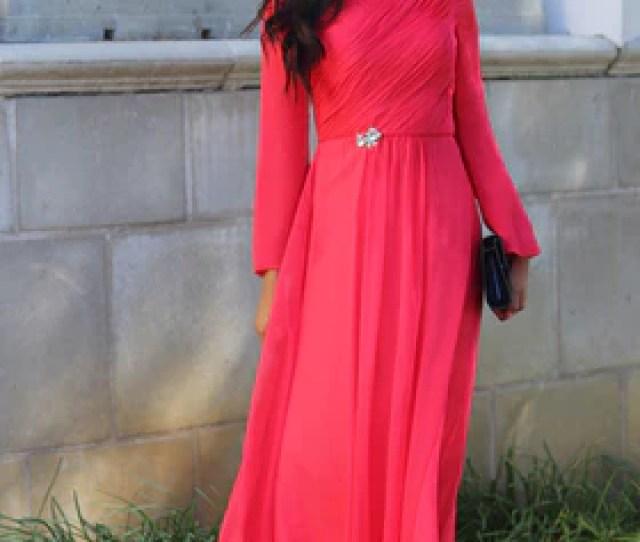 Saba Long Sleeve Silk Chiffon Modest Muslim Formal Evening Dress Coral Pink