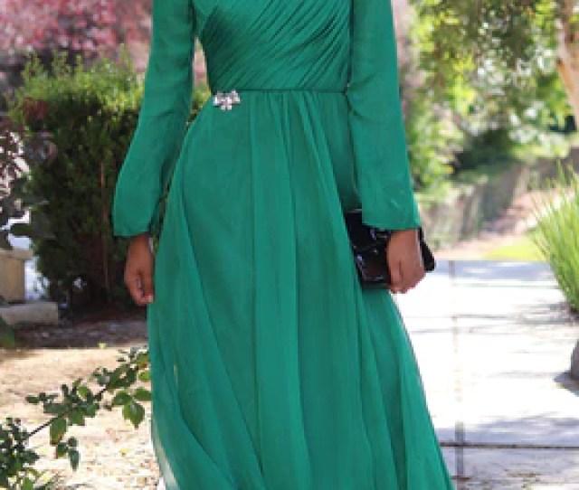 Saba Long Sleeve Silk Chiffon Modest Muslim Formal Evening Dress Emerald Green