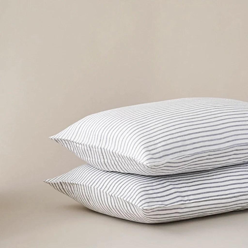 grey white stripe linen pillow case