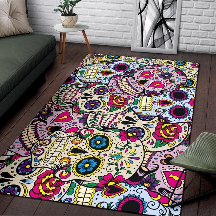 tapis de salon tete de mort mexicaine