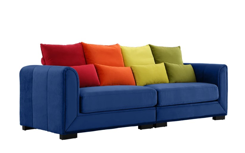 Nova Colorful Convertible Velvet Sofa with (8) Accent Pillows