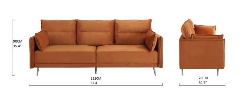 Harley Mid-Century Low Profile Velvet Sofa
