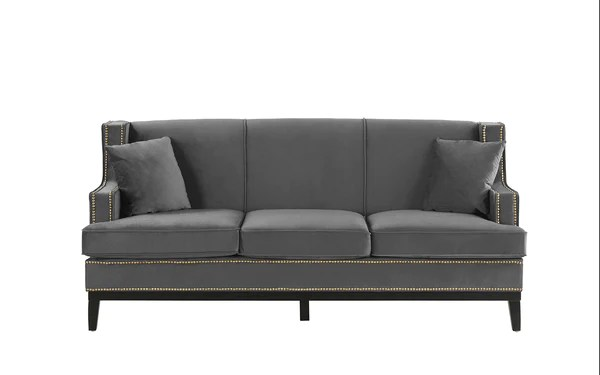 Abe Old Hollywood Nailhead Trim Velvet Sofa