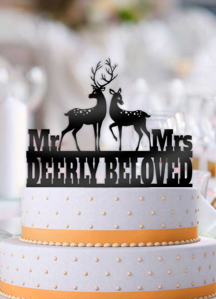Deerly Beloved Mr Mrs Deer Wedding Cake Topper     Bee3dgifts Deerly Beloved Mr Mrs Deer Wedding Cake Topper   Bee3dgifts