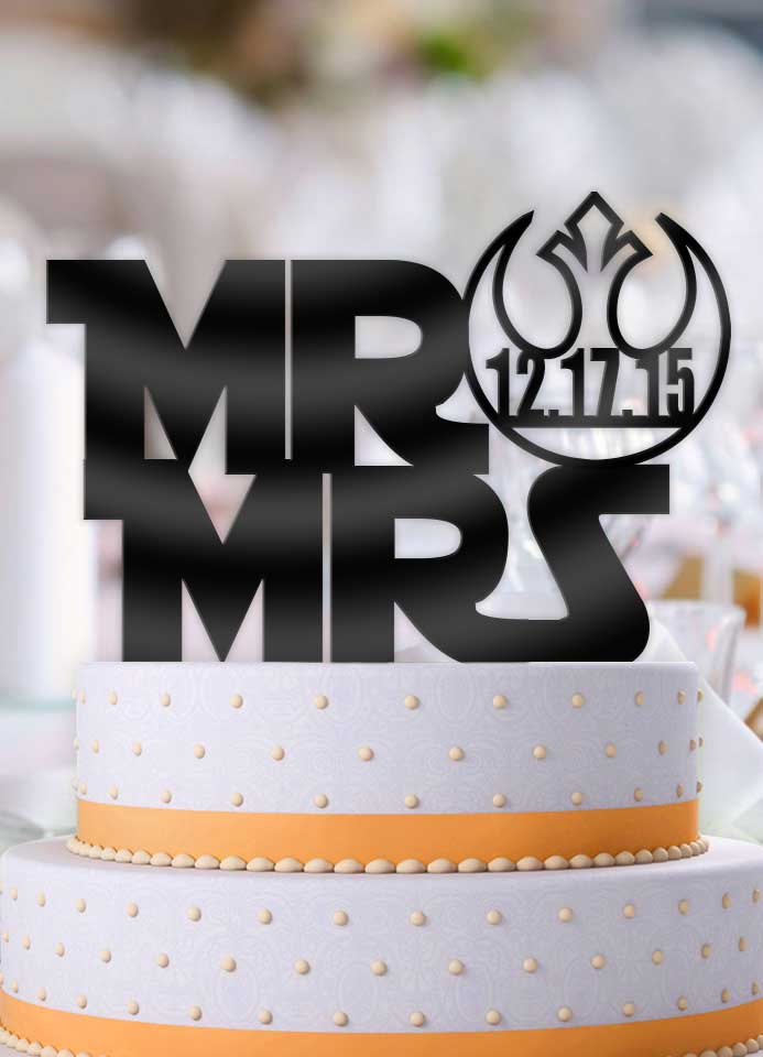 Personalized Star Wars Style Mr and Mrs with Date Wedding Cake     Personalized Star Wars Style Mr and Mrs with Date Wedding Cake Topper    Bee3dgifts