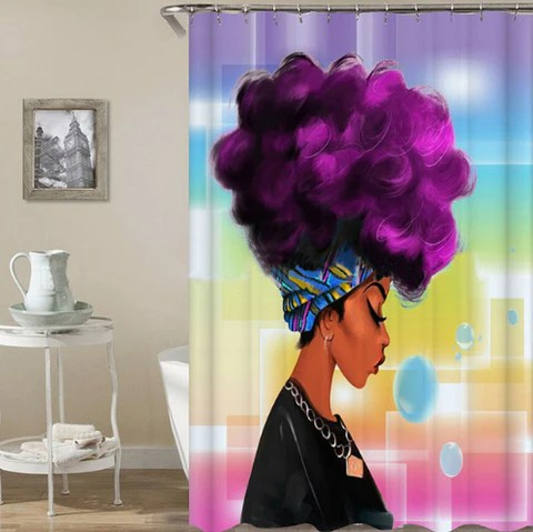 purple afro shower curtain home decorations
