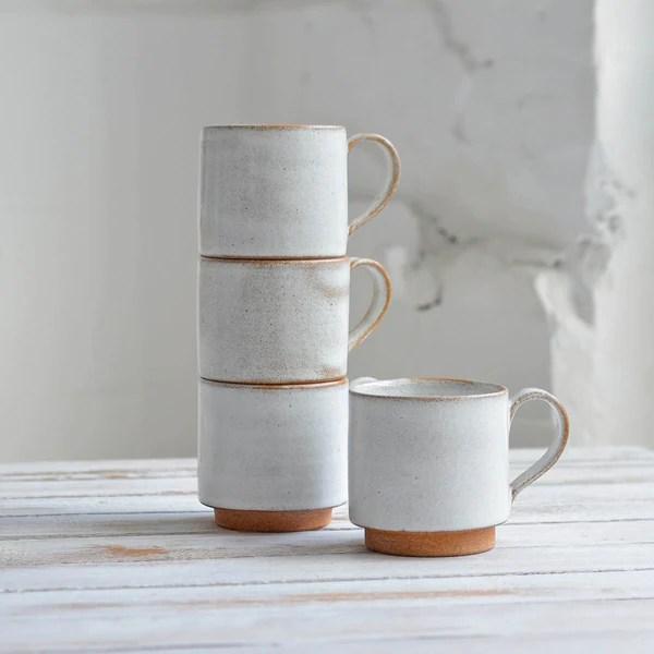 stackable coffee mug snow white