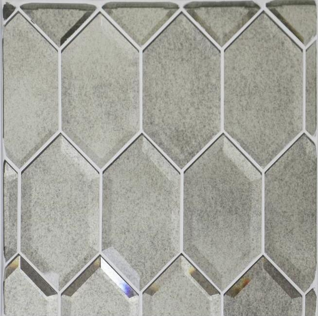 antique mirror glass tile in beveled elongated hexagons