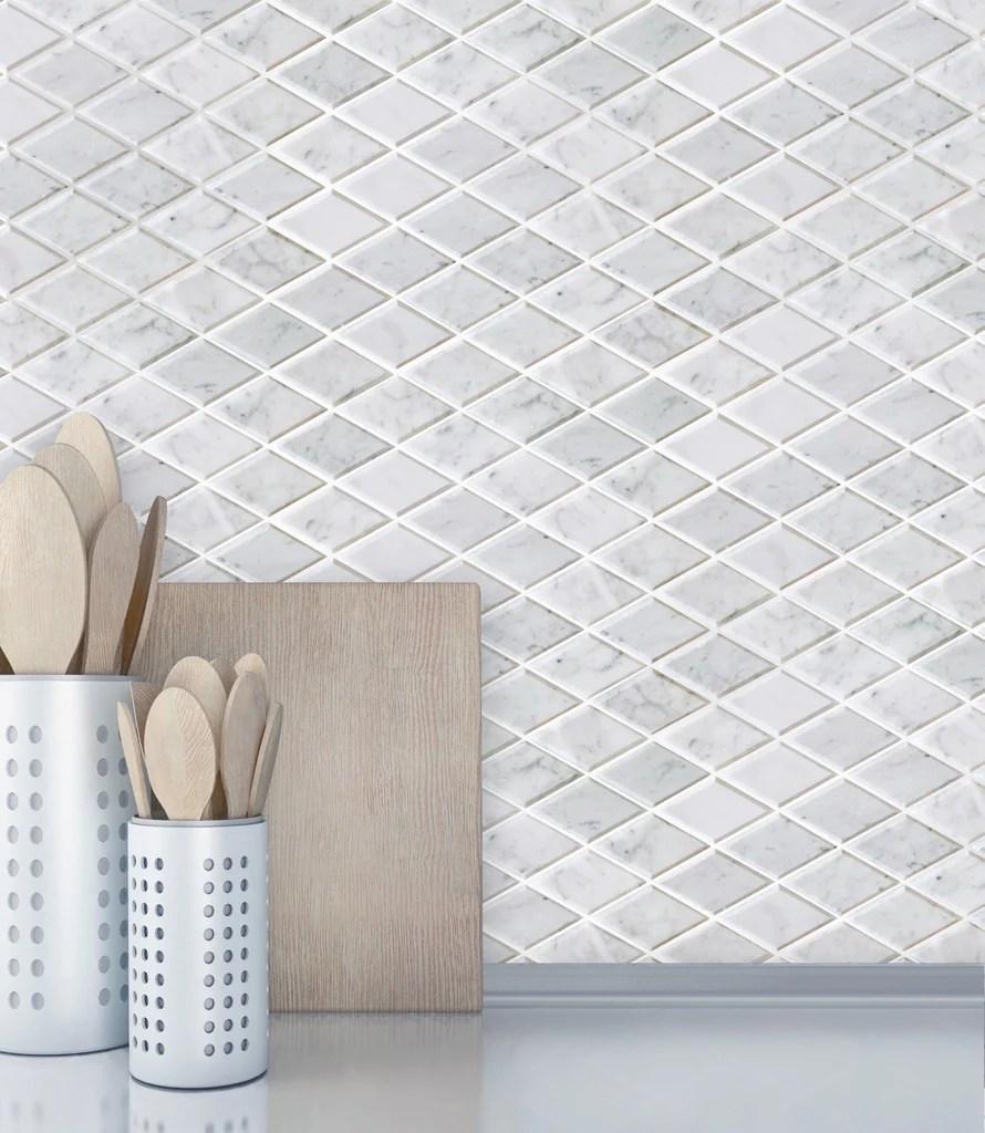 bianco carrara marble mosaic tile beveled diamonds polished