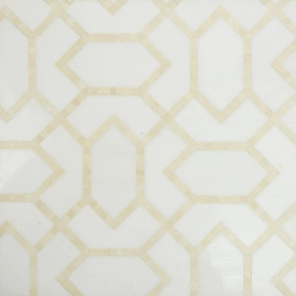 white thassos and crema marfil marble waterjet mosaic tile in geometric gems