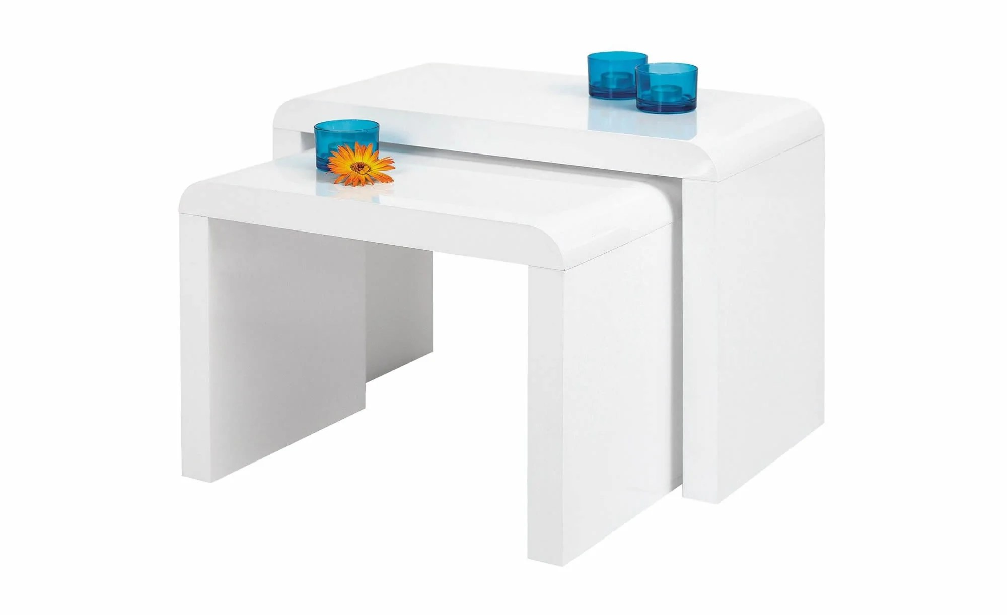 Side Table Set Of 2, White High Gloss, Round Edges