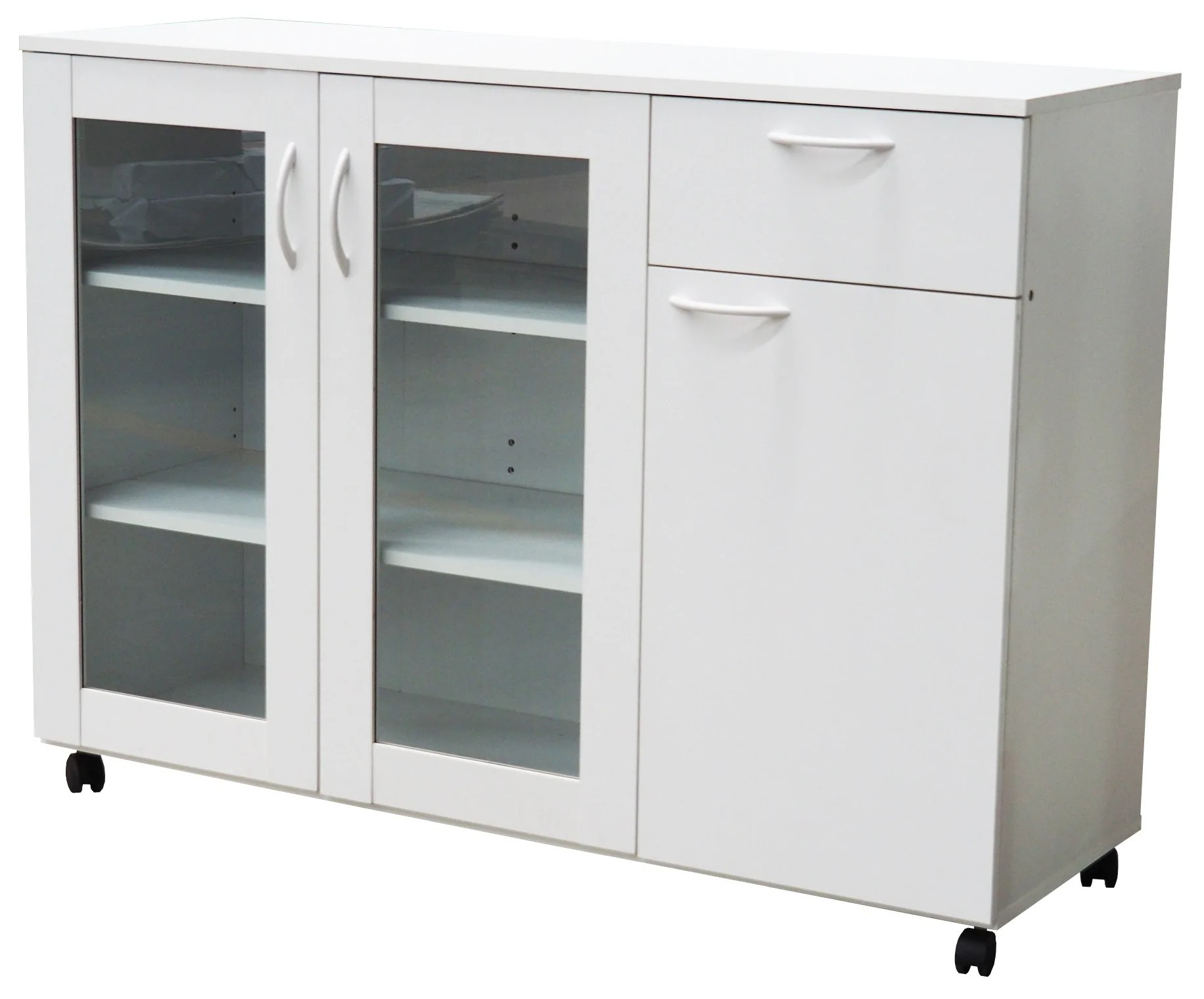 Gremlin Wheeled Kitchen Storage Sideboard Buffet Cabinet With Adjustable Shelves Drawer White Wood Glass Contemporary Pilaster Designs