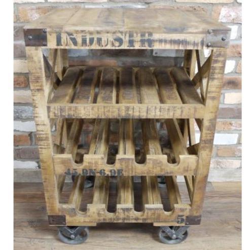 hoxton industrial reclaimed wood wine rack side table trolley 59 x 41 x 88cm