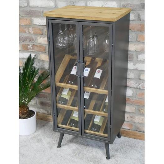 brixton metal and wood industrial wine display cabinet 50 x 38 x 108cm