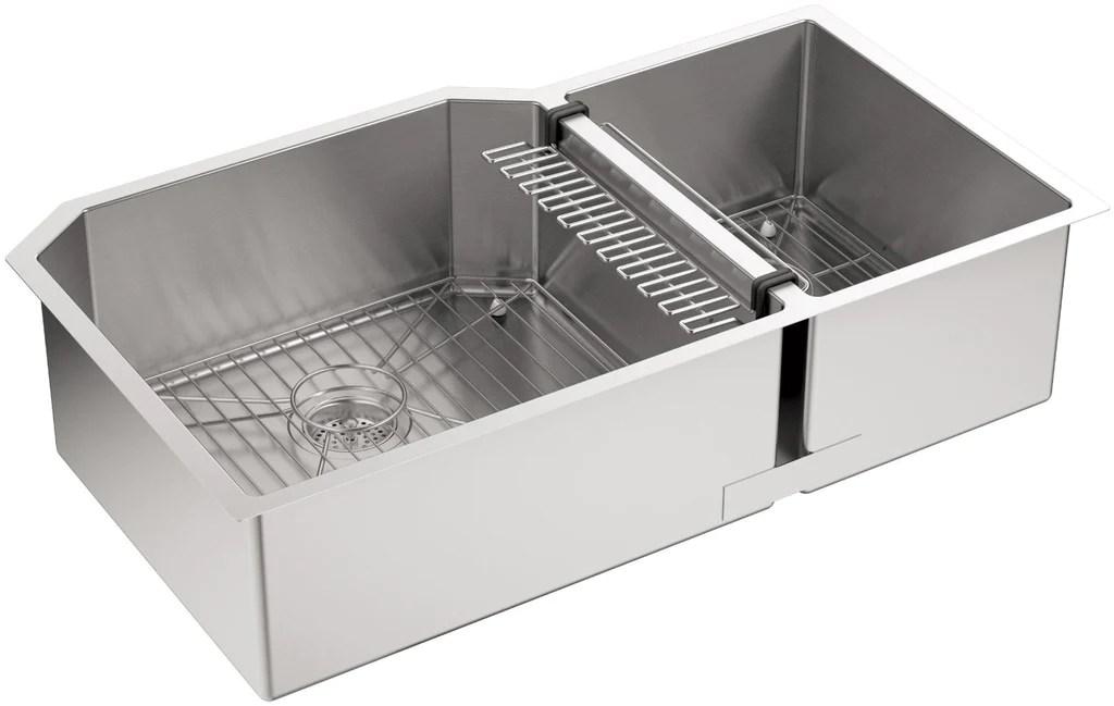kohler strive undermount double bowl kitchen sink 16 gauge stainless steel