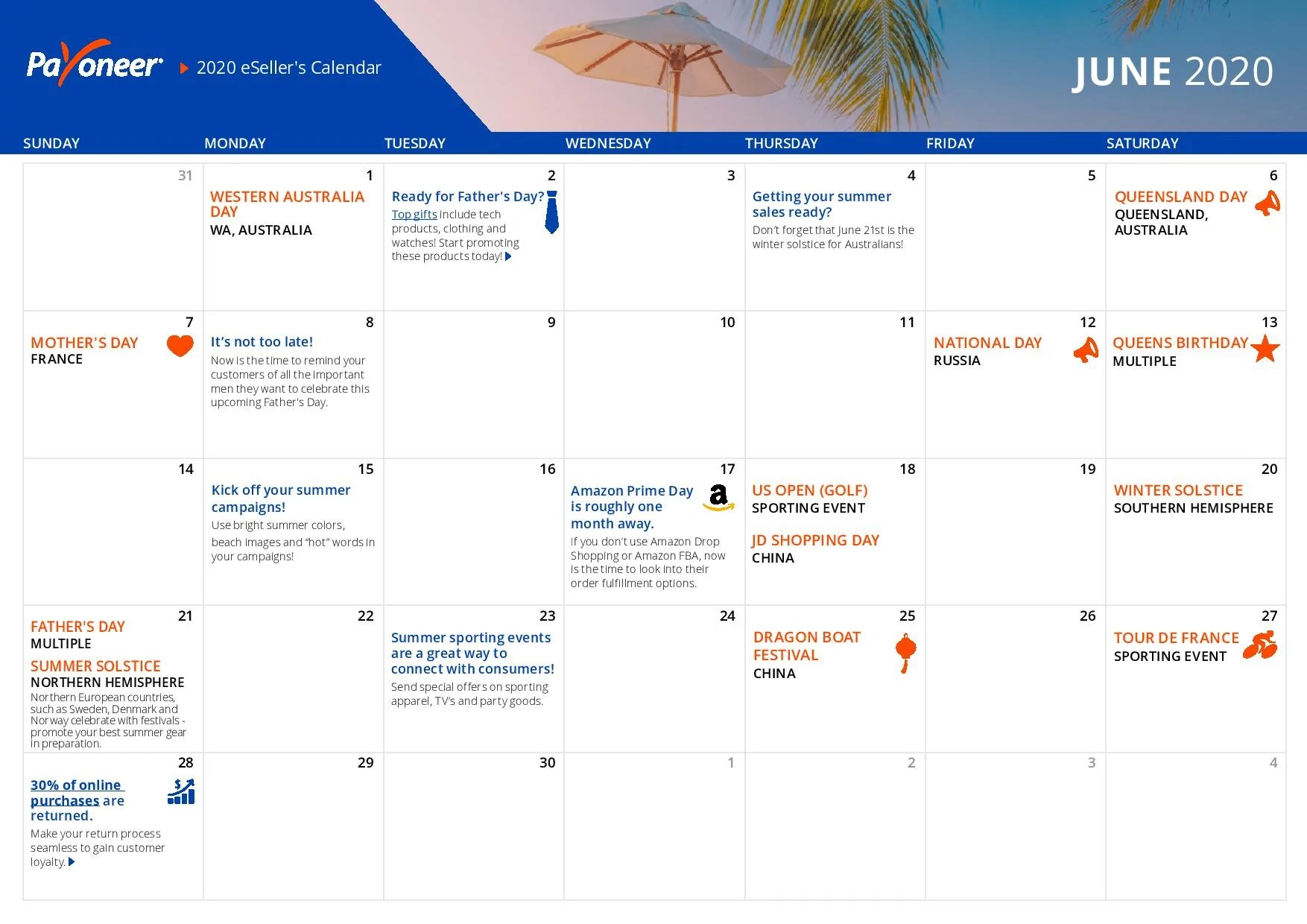 Shopify eCommerce Calendar - June