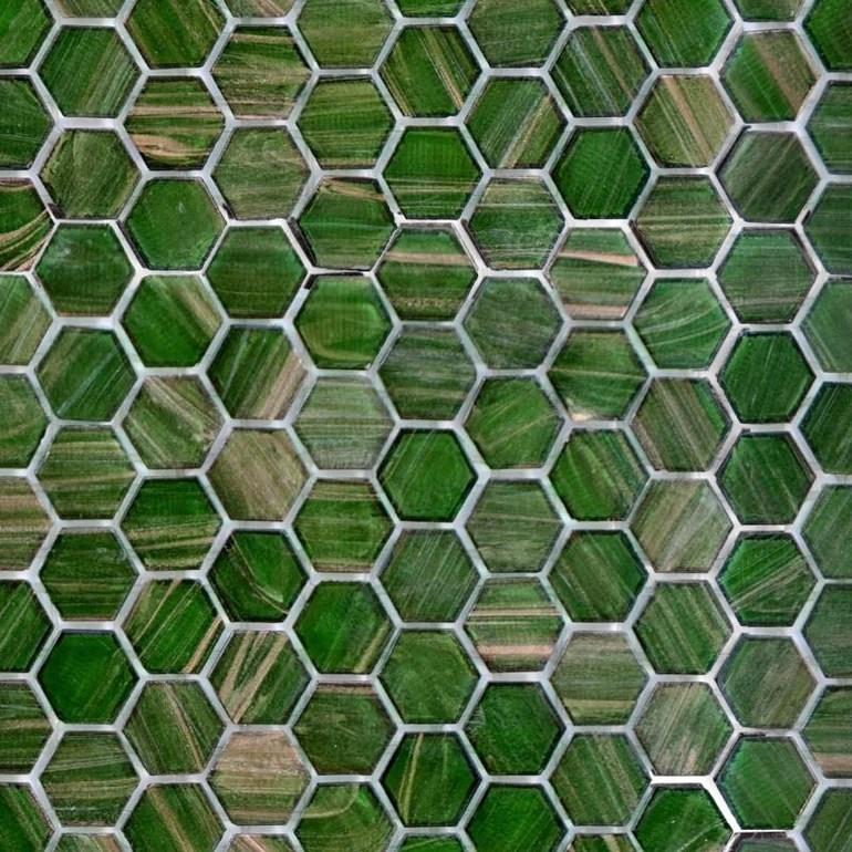 https www aquablumosaics com products jungle canopy hexagonal glass tile