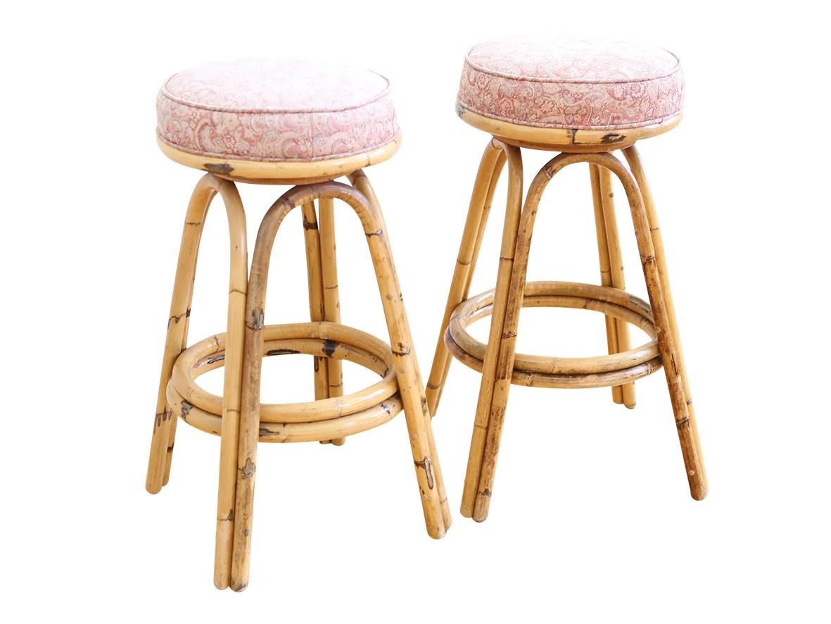Vintage Boho Chic Rattan Bamboo Swivel Bar Stools Set Of 2 Shopgoldenpineapple